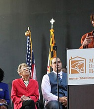 Monarch Academy Baltimore and The Children's Guild have launched a Community Revitalization Initiative in partnership with the Coldstream Homestead Montebello Community Corp. (Above) Baltimore City Mayor Catherine Pugh speaking at the launch event on Wednesday, October 17, 2018.