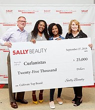 Lexi Proctor and her mother, Monica Proctor (middle) are the winners of the  Sally Beauty Cultivate For Women By Women contest in late September. Their company Curlanista, a line of hair products created for girls with curly hair received $25,000 in financial support; product distribution at SallyBeauty.com; mentorship from the Sally Beauty management team; and the opportunity to place their products into the hands of highly sought after beauty influencers at one of Sally Beauty's monthly influencer events.