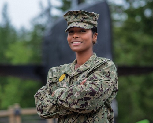 Portland native Alika Mosley  is responsible for law enforcement and overall security as a master-of- arms officer in the U.S. Navy.
