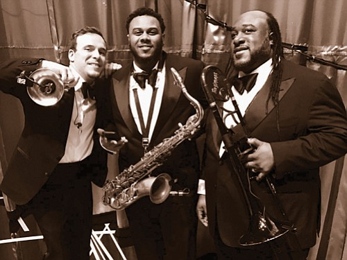 The Regiment Horns (from left) Sean Erick on trumpet and flugelhorn, Leon Silva Jr. on saxophone and Kevin Lloyd Williams Jr. on flute, tuba and trombone.