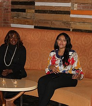 Clerk of the Circuit Court of Cook County Dorothy Brown (from left) met with young voters at a Nov. 12, 2018 town hall meeting in Bronzeville that was moderated by Chicago journalist Portia King. Photo credit: Wendell Hutson