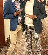 South Suburban College Business Major, Jaleel Harris (left), attended the second Annual Dirty Little Secrets Conference in Chicago where he met Louis Carr (right), president of media sales for BET Network, author, mentor, and philanthropist. Photo Credit: Provided by South Suburban College