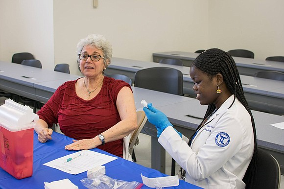 Monday, students from Touro College of Osteopathic Medicine and Touro College of Pharmacy in Harlem offered a free health fair ...