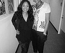 """Host Robin Roberts models a design by Deidre Jefferson for ESPION on """"The Morning Show"""""""