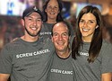 Sharing a Screw Cancer Moment with young adult Stuart (Stage 4 lung cancer) are his wife Tanya (right), his father and sister (down the middle).