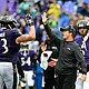 Ravens coach John Harbaugh and guard Marshall Yanda celebrate after a play at M&T Bank Stadium in Baltimore City during the 2018 NFL season.