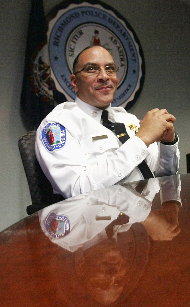 In this photo, Richmond Police Chief Alfred Durham contemplates his new post on Feb. 18, 2015, shortly after taking over leadership of the city Police Department.