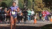 Bose Gemeda Asseta of Ethiopia leads the women's race as she makes her way along Brook Road at the 23-mile mark during last Saturday's Richmond Marathon. Ms. Asseta went on to be the top women's finisher with a time of 2:39:04.