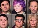 Portland police release the booking photos of the people arrested Saturday during protests downtown. The names of those arrested were Ruben A. Delahuerga, Hannah R McClintock, Gary Fresquez, Betsy Toll, Brittany N. Frost and Elizabeth L Cheek.