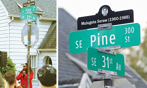 Small permanent memorials were placed atop street signs in a southeast Portland neighborhood to honor Ethiopian immigrant Mulugeta Seraw on ...