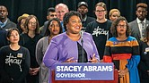 "Georgia gubernatorial candidate Stacey Abrams ends her challenge to Republican Brian Kemp during a news conference Nov. 16 at her Atlanta headquarters while pledging to file a federal lawsuit over the ""gross mismanagement"" of the state's elections."