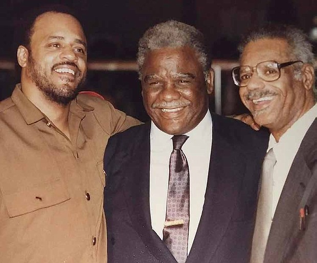 Conrad Worrill (left) worked with Mayor Harold Washington (middle) and Lu Palmer (right). Photo Credit: Provided by Conrad Worrill