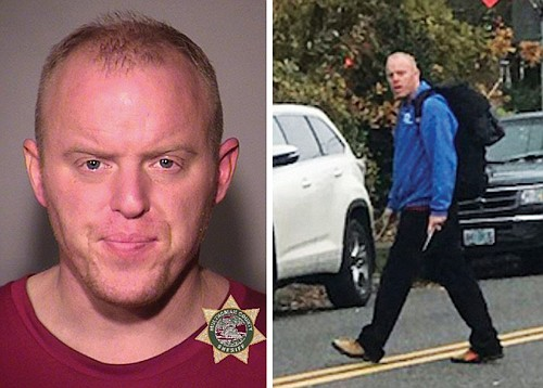 A police booking photo of Justin C. Venable (left) after his arrest Monday for menacing others with a metal rod and another picture shows him as a suspect in one of the attacks.
