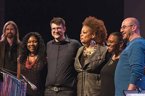 "A diverse group of Portland writers and musicians are the creators behind ""From Maxville to Vanport"" a new CD of songs and original music telling the stories of two Oregon towns rooted in early African American history."" Pictured (from left) are Gwen Trice, Douglas Detrick, S. Renee Mitchell, Marilyn Keller and Ezra Weiss."