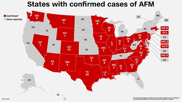 There are now 286 cases of possible and confirmed acute flaccid myelitis in the United States this year, according to ...