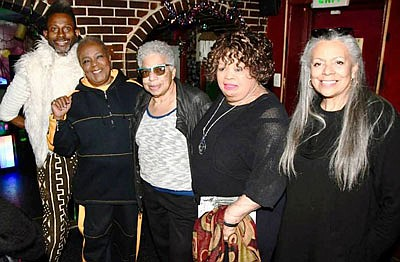 Kevin Brown, Co-owner and head chef of Station North Café and Nancy by SNAC in downtown Baltimore; Rosa Pryor, Entertainment Columnist for the Baltimore Times; Ronnie Jackson, owner of Roots Lounge, Valerie Fraling, Afro Columnist and Marsha Jews, Radio Personality with WEAA 88.9 Radio recently at Roots Lounge celebrating and remembering the old days.