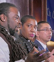 John Hardy (Left), Asiaha Butler (second from left), and Eddie Bocanegra (second from right) recently participated in a panel discussion for the City Club of Chicago to talk about the work that they are