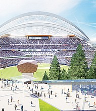 An artists' rendering of a Major League Baseball stadium that's envisioned to rise from the Port of Portland's Terminal 2 property, about 45 acres of riverfront property north  of the Pearl District on Northwest Front Avenue. Promoters announced last week that they have an agreement with the Port to develop the property.