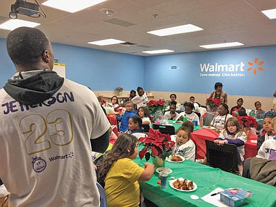 """Baltimore Ravens safety Tony Jefferson took 50 children from the Boys and Girls Club of Metropolitan Baltimore holiday shopping, as part of the annual """"Shop With A Jock"""" event at Walmart in Cockeysville on Monday, December 3, 2018. Throughout the event, Jefferson interacted with children for a holiday experience they will likely cherish for a lifetime. The children were served dinner after shopping, courtesy of Jimmy's Seafood."""