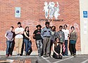 """The cast and crew of """"Doomed to Repeat,"""" a film by homeless youth about art, activism and the federal Immigration and Customs Enforcement (ICE) agency."""