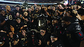 The Army Black Knights celebrate their 17-10 win last Saturday over the Navy Midshipmen.