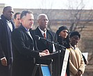 Richmond schools Superintendent Jason Kamras addresses the marchers from the steps of the State Capitol last Saturday. Among those on the podium with him are, from left, Richmond Mayor Levar M. Stoney, who led the March for More effort, 4th District Congressman A. Donald McEachin and Shadae Thomas Harris, chief engagement officer for Richmond Public Schools.