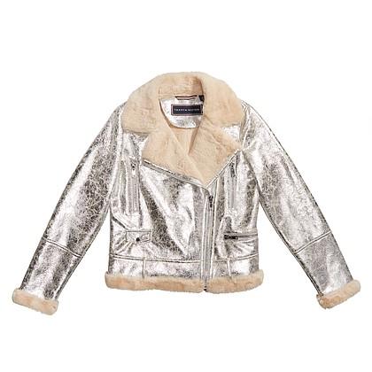 Tommy Hilfiger silver metallic moto jacket $190