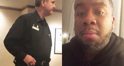 A white security officer and another employee at the Portland Hilton/Doubletree who calls police on a black man who was ...