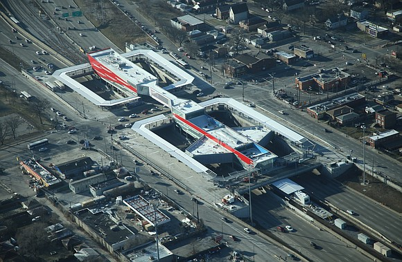 F.H. Paschen celebrates the opening of the North Terminal and the 95th Street Pedestrian Bridge of the Chicago Transit Authority ...