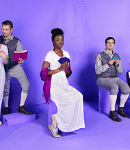 "A classic romantic comedy, Portland Center Stage at the Armory brings Kate Hamill's hit adaptation of ""Sense & Sensibility"" to local audiences. The production stars Quinlan Fitzgerald (from left), Chris Murray, Danea C. Osseni, Jamie Smithson and Kelly Godell."