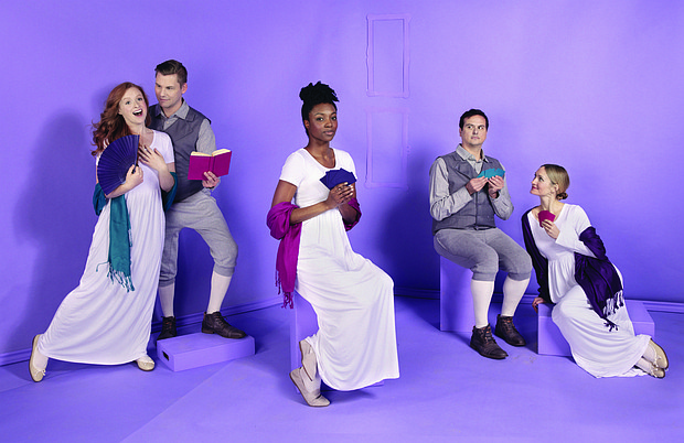 """A classic romantic comedy, Portland Center Stage at the Armory brings Kate Hamill's hit adaptation of """"Sense & Sensibility"""" to local audiences. The production stars Quinlan Fitzgerald (from left), Chris Murray, Danea C. Osseni, Jamie Smithson and Kelly Godell."""