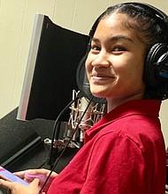 "Dina Maeva recording songs for ""Voices of Carmen"" for the original cast album"