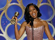 "Regina King beams with joy at winning the Golden Globe for best supporting actress for her role in ""If Beale Street Could Talk"" during Sunday night's ceremony in Beverly Hills, Calif."