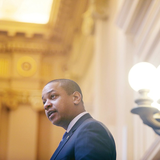 New year, new session: Lt. Gov. Justin E. Fairfax, the presiding officer in the Virginia Senate, welcomes the 40 members back as he starts the 2019 legislative session. (Regina H. Boone/Richmond Free Press)