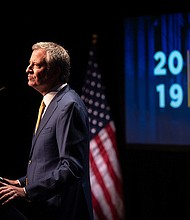 Mayor Bill de Blasio delivers his sixth State of the City address at the Symphony Space in Manhattan on Thursday, January 10, 2017.