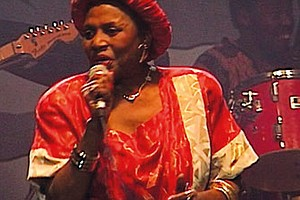 "This season's opening episode puts Africa's first global music icon—Miriam Makeba—back in the spotlight with ""Mama Africa: Miriam Makeba!"" Director Mika Kaurismaki's film tells the story of Makeba's rise to global stardom as a musical legend and as a powerful voyce of the South Africa anti-aparteid movement. (Above): Miriam Makeba performing at Standard Bank Arena 1991."