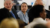 Cyntoia Brown smiles at family members during a May 2018 clemency hearing at Tennessee Prison for Women in Nashville. She was serving a life sentence for killing a man in 2004 when she was a 16-year-old sex trafficking victim.