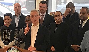 Mayor Rahm Emanuel (pictured) recently spoke at the grand opening of the redesigned Whitney M. Young Jr. Library in Chatham. Photo Credit: Katherine Newman