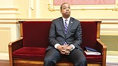 Above, Lt. Gov. Justin E. Fairfax takes a seat in the Senate chamber last Friday rather than preside at the dais when Republican state Sen. Richard H. Stuart of King George County asks that the body adjourn for the day in honor of Confederate Gen. Robert E. Lee.