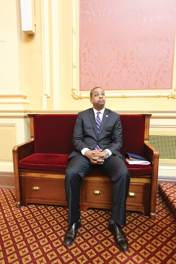 "Lt. Gov. Justin E. Fairfax, the second African-American to hold statewide office in Virginia, made a statement with a ""sit-in"" ..."