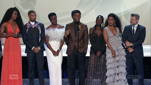 "- It's still ""Wakanda forever."" The superhero mega-hit ""Black Panther"" won for outstanding performance by an ensemble in a motion ..."
