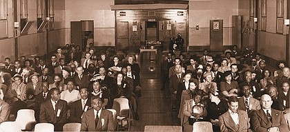 A historical photo shows a 1949 meeting in Vancouver, Wash. of NAACP branch representatives of the Washington State Conference.