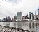 View of Manhattan in winter from Roosevelt Island