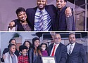 Benson High School Principal Curtis Wilson Jr. (top, center) is joined by his wife Yushonna, and son Andrew, as he receives a Lifetime Achievement Award at The World Arts Foundation's annual Tribute to Dr. Martin Luther King Jr. held last Monday at the Highland Center on Northeast Glisan Street. Portland Observer Publisher Mark Washington (bottom, second from right) enjoys the festivities of the 34th annual Martin Luther King Jr. Tribute with his children and grandchildren, where he received a Lifetime Achievement Award.