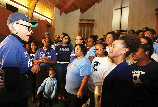 """Standing with Bennett: Dr. Johnnetta B. Cole, left, meets with alumnae of Bennett and Spelman colleges Monday evening at Fifth Baptist Church in Richmond to rally efforts to help raise $5 million by Feb. 1 to save Bennett College. Dr. Cole previously served as president of both institutions, the only two historically black women's colleges in the nation, and was central to a video the group made Monday and posted on social media. United in sisterhood, the video calls on Spelman women and Bennett Belles to support the Greensboro, N.C., college, which may lose its accreditation if it cannot gain a more sound financial footing by the Feb. 1 deadline. The effort came together within 24 hours. """"I have never witnessed black women move so quickly with one mission to make sure African-American women have the opportunity to receive a quality education,"""" said Marissa Jennings, Bennett Class of 2003. Dr. Cole's message is available online at https://vimeo.com/314049002. To donate, go to www.bennett.edu/donate. (Regina H. Boone/Richmond Free Press)"""