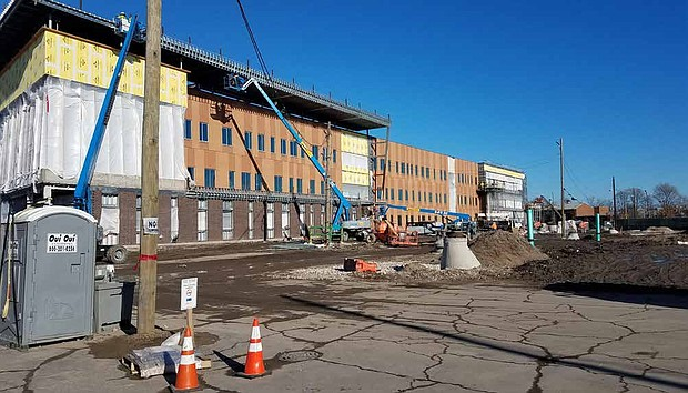 Construction of the new Englewood STEM High School is on pace for a Fall 2019 opening. Photo Credit: Provided by Chicago Public Schools