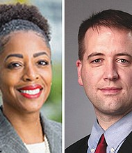 Oregon Investment Council Chair Rukaiyah Adams (left) and Oregon Treasurer Tobias Read