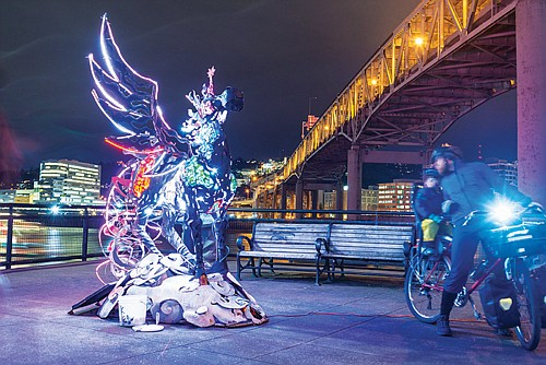 The Cosmic Messenger by Miki Masuhara-Page is an example of the many illuminated creations that comprise the Portland Winter Light Festival, returning to the Eastbank Esplanade, OMSI grounds and Tom McCall Waterfront Park, Thursday night, Feb. 7 through Saturday night, Feb. 9