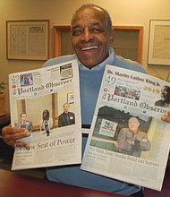 "Harvey ""Mr. Alameda"" Garnett, the first black movie theater owner in Portland, visits the offices of the Portland Observer. The former owner of Alameda Cinema, now the Alberta Rose, Garnett was also the first business owner to purchase advertising in the Portland Observer in 1970, the black-owned newspaper's first year of publication."