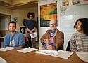 Community leaders with Bus Riders Unite and OPAL Environmental Justice train volunteers in de-escalation techniques Saturday in southeast Portland to get them ready to become unofficial transit rider advocates on TriMet buses and trains. Pictured (from left) are first-time volunteer Arius King, de-escalation training facilitator Tristan Isaac, OPAL volunteer Keith Scholz and OPAL staff member Janaira Ramirez.